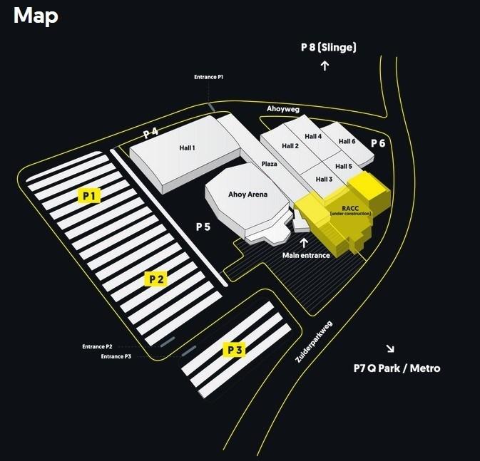 Схема залов и парковок арены Ahoy