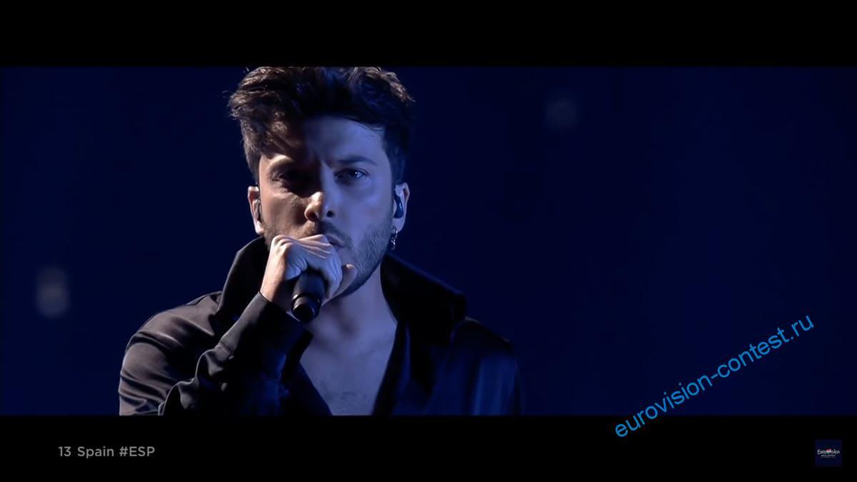 Выступление Blas Cantó в финале Евровидения 2021 с песней Voy A Quedarme