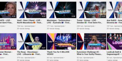 Россия и Украина лидируют на YouTube после первого полуфинала Евровидения