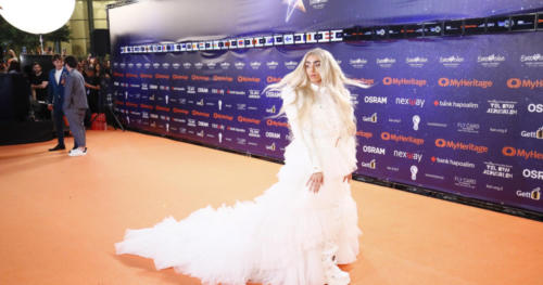 Bilal Hassani from France arriving at the Orange Carpet
