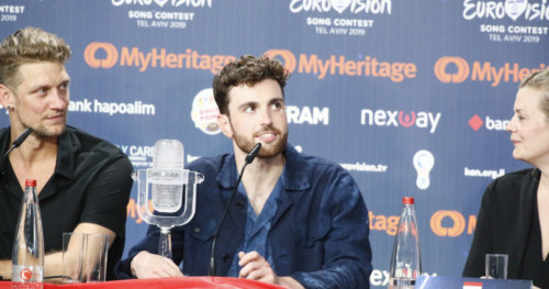 Duncan Laurence from the Netherlands at his winner's press conference 1