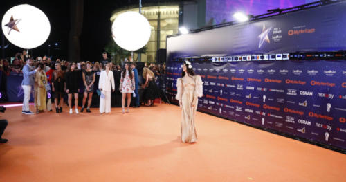 Katerine Duska from Greece arriving at the Orange Carpet